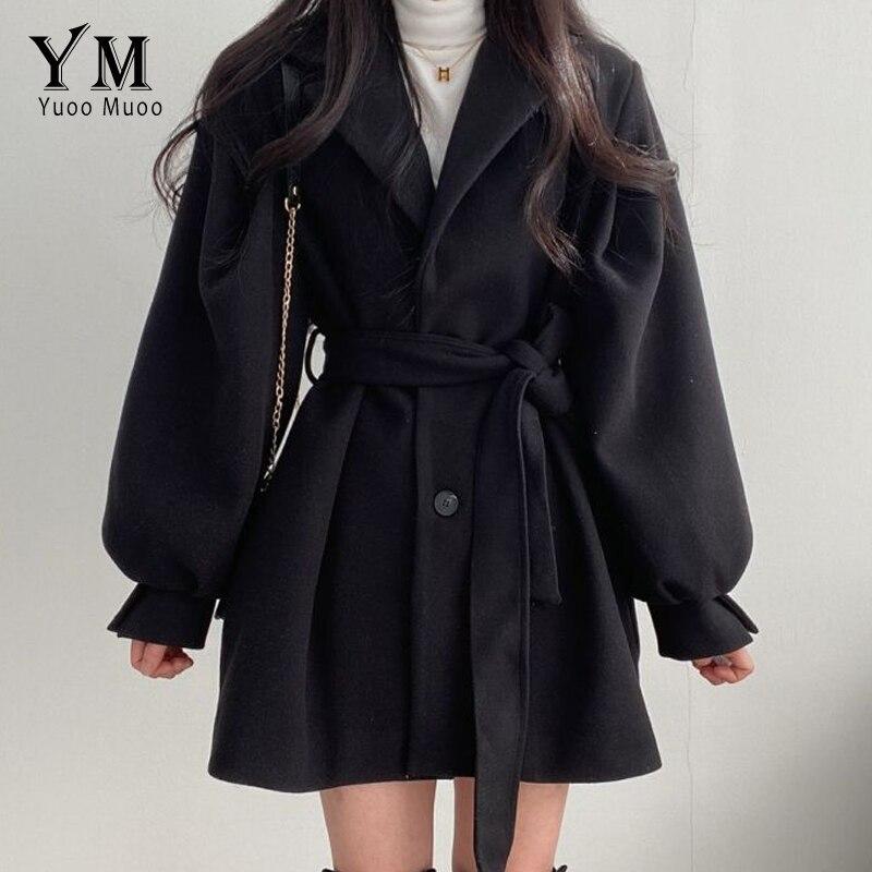 YuooMuoo الخريف الشتاء معطف الصوف الأسود مع حزام Vintage البيج طويل فانوس كم ملابس خارجية بدوره أسفل طوق سترة أنيقة
