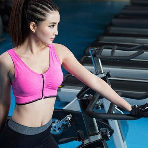 Sports Yoga Bra Gym Fitness Top Running Workout Vest Proof Padded Comfortable Zipper Center Front Anti-Sweat Shock Breathable
