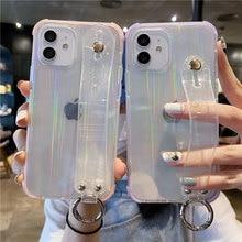 Чехол для телефона с лазерным ремешком на запястье для iPhone 12 11 Pro Max XR XS Max X 7 8 Plus 12 Mini Блестящий Прозрачный мягкий чехол накладка