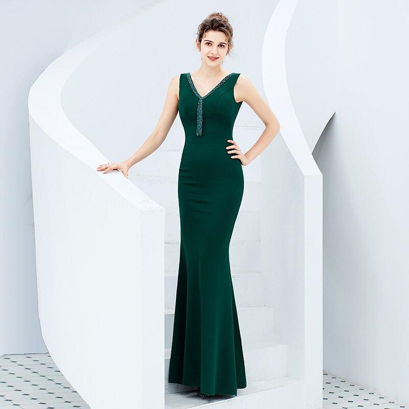 Sirena vestido De noche largo sin espalda formales De Noche Vestidos abendkleid Lang vestido De fiesta para las mujeres Robe De Soir E Rouge