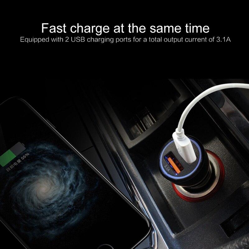 5V puerto Dual USB Mini cargador de coche 3.1A adaptador automático LED voltímetro para IPhone X 7 Plus 6 Huawei P10 Samsung S8 S7 Xiaomi