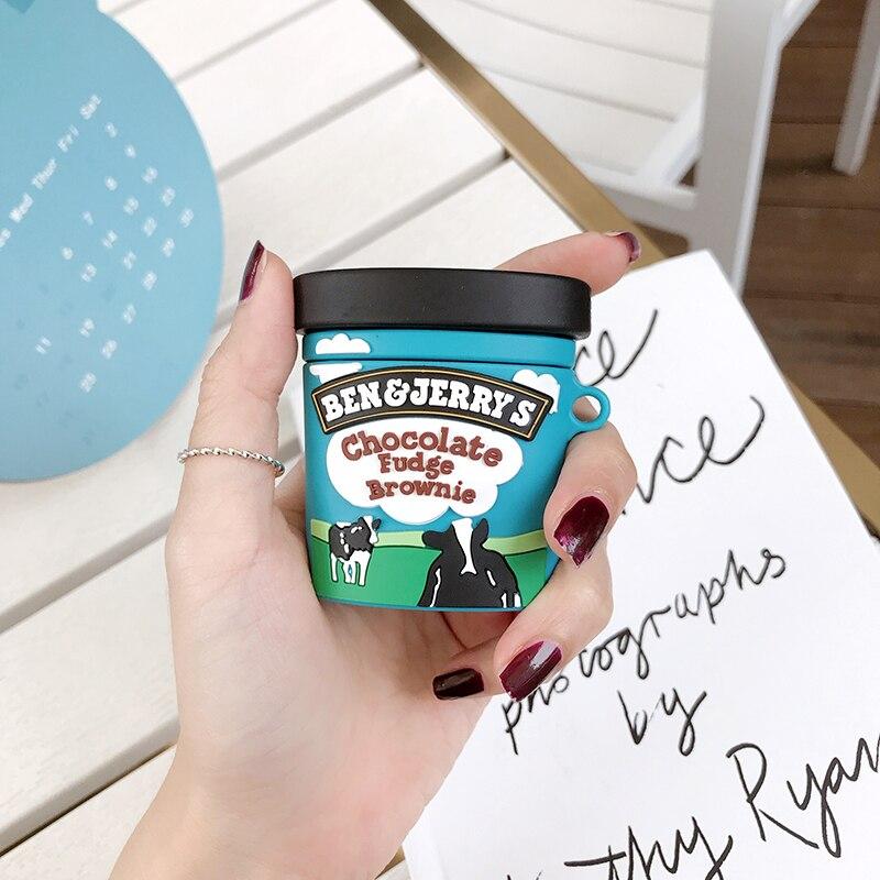 Funda protectora de silicona inalámbrica bluetooth para auriculares AirPods 1 2 Pro charge box, nueva marca ben jerry, para helados de chocolate