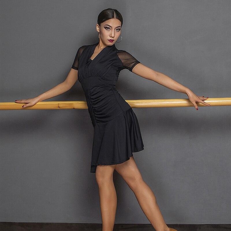 Nouvelle robe latine pour les femmes noir Tango/salle de bal/Rumba danse latine robes de compétition Costume de scène Costumes SL3251