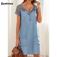 cashiona 2021 summer above knee dress sexy hollow out skirt dresses short sleeve women robe plus size femme dress mini vestidos