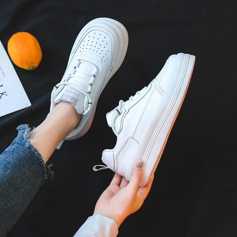 Zapatos Deportivos informales para Mujer, zapatillas blancas cómodas con cordones, a la...