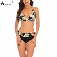 plus size 4xl 5xl women bikini sets fashion striped swimsuit sexy femme push up two pieces swimwear 2021 patchwork bathing suits