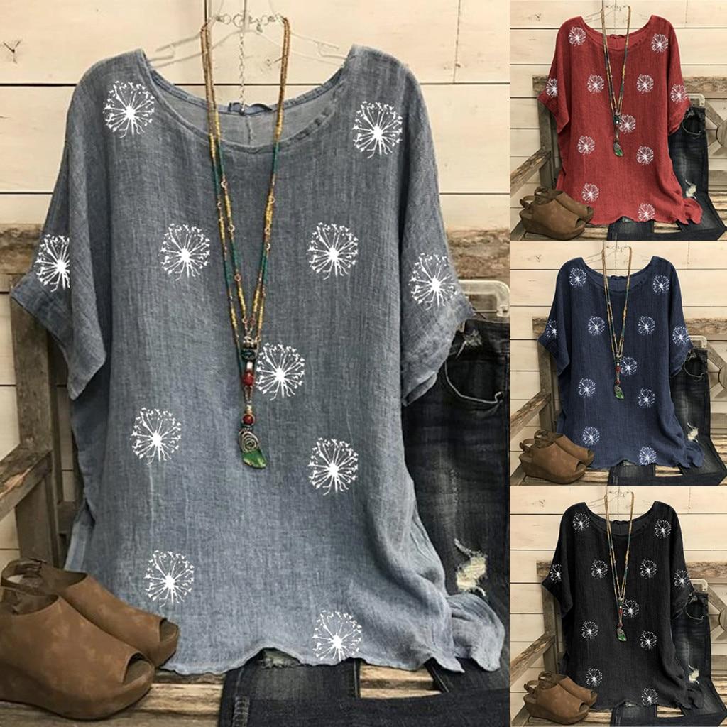 Fashion Cotton Linen Blouse Plus Size Loose O-Neck Print Tops Casual Summer Ladies Top Female Women
