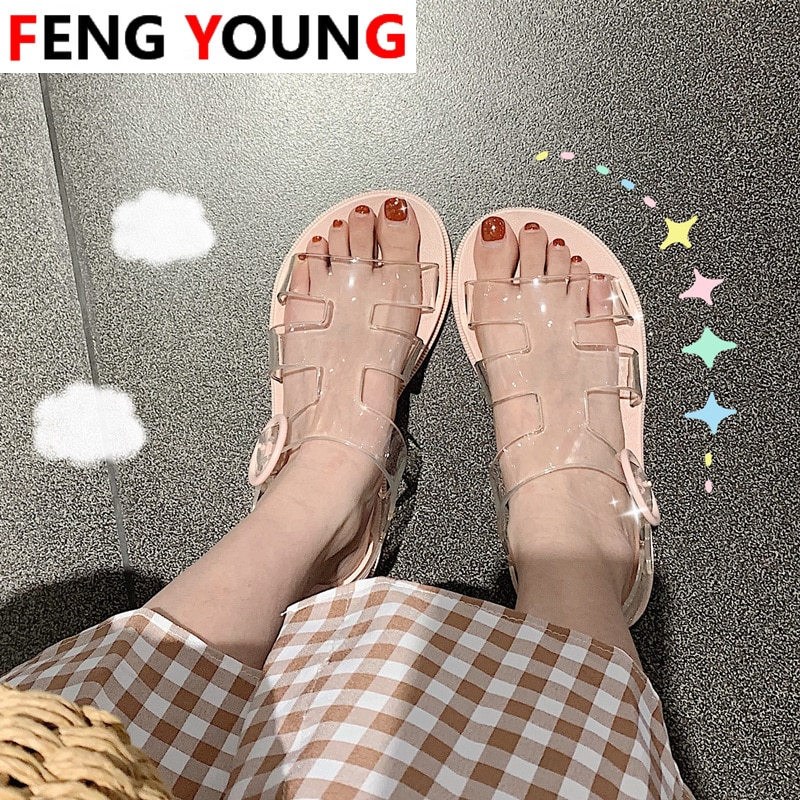 2020 Women  Sandals Female Casual Summer Flat Platform Girl Beach Shoes  Gladiator Open Toe Buckle  Soft Sandals