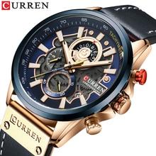 CURREN montre hommes mode Quartz montres bracelet en cuir Sport Quartz montre-bracelet chronographe horloge mâle créatif Design cadran