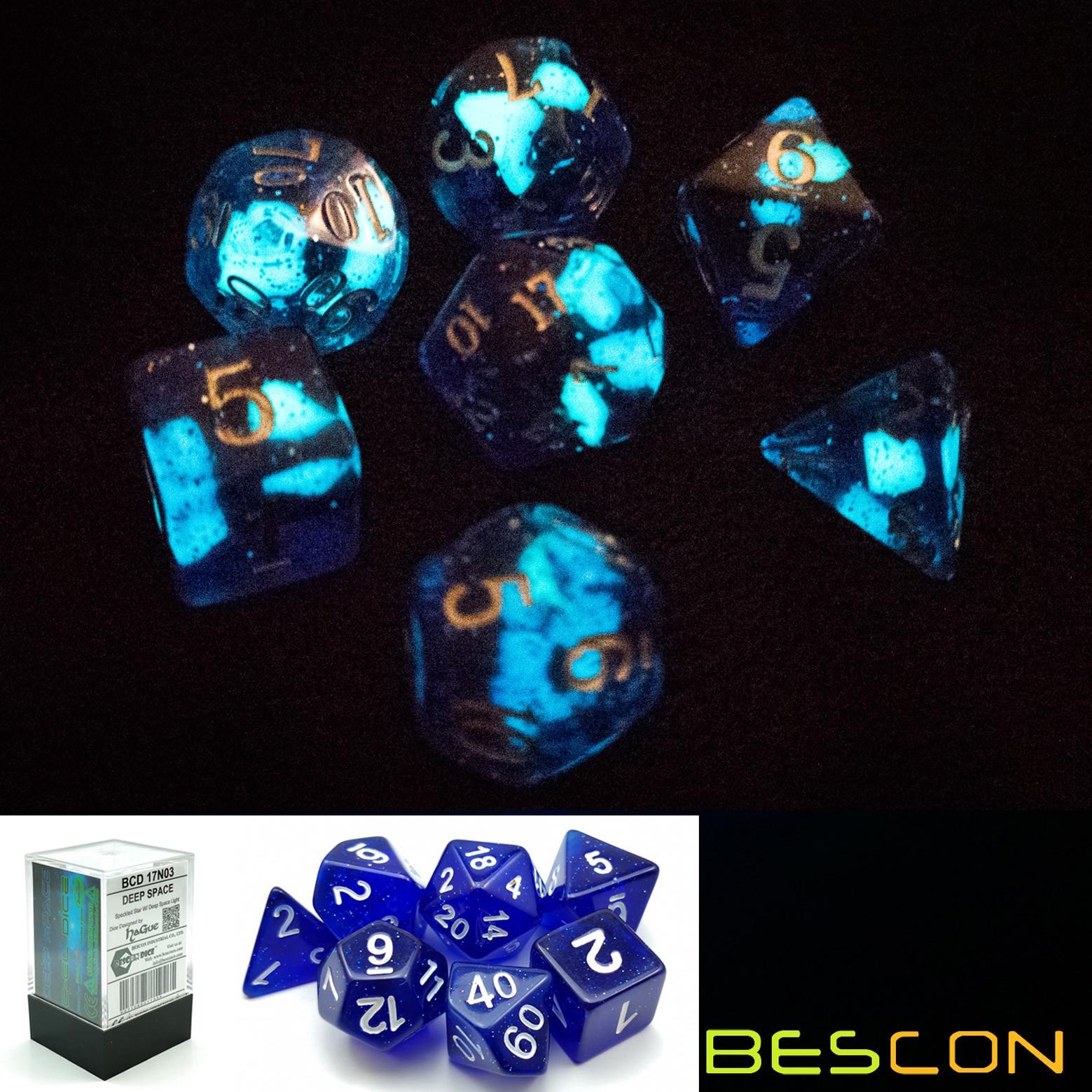 Bescon スーパーダークグリッター多面体サイコロセット深宇宙、発光 rpg サイコロセット、グローイングノベルティ dnd ゲームサイコロ