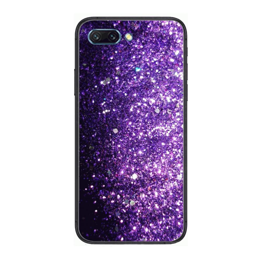 Cover Lovely Purple Glitter clear Phone Case For Huawei Honor 10 9 8 7 N Pro Lite A C RU Black Etui Coque Hoesjes comic fashi  - buy with discount