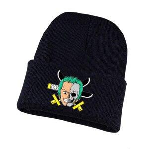 Anime One Piece Hat Trafalgar d Water Law Caps Knitted Winter Warm Hats Men Women Boys Girls Elastic Black Hat
