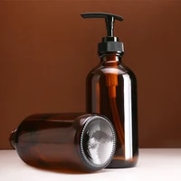 Distributeur de savon en verre marron  bouteille de 240ml 480ml pour salle de bains  pour shampoing  Gel douche  apres-shampoing  bouteille a pompe a pression Simple distributeur de savon liquide distributeur savon