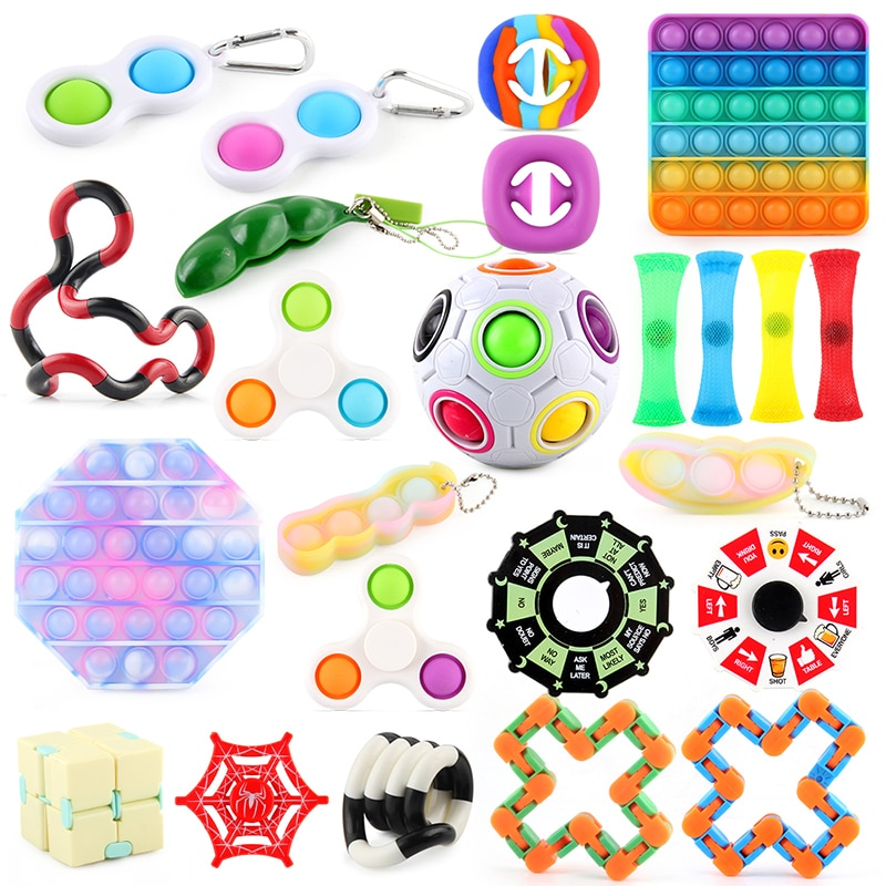 Fidget Toys Anti Stress 24PCS Anxiety Relief Stress Set Kit Bubble Sensory Toy for Kids Adults Stress Relief Hand Squishy Toys