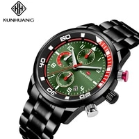 kunhuang top brand relogio masculino fashion green dial mens watch 2019 black stainless steel waterproof quartz wrist watches