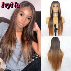 IvyNa #1B Mixed Brown Highlight Synthetic Wigs for Black Women Futura Heat Resistant Hair Full Machine Made Middle Part Wigs