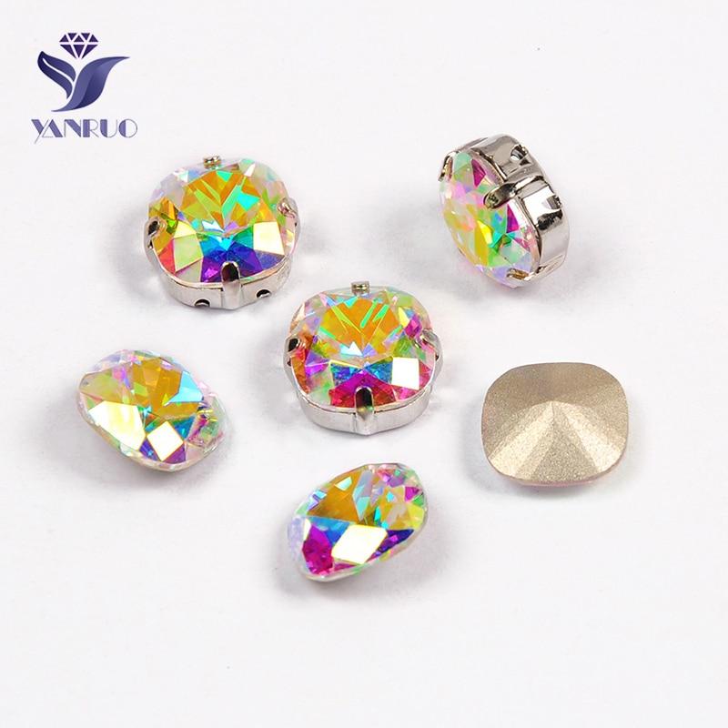 YANRUO 4470 Cushion Cut Top AB Stones and Crystals rhinestone applique rhinestones glass stones for needlework Wedding Dress