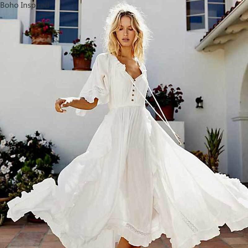 Bohemian Beach Bliss Maxi Dress V-neck Ruffle White Women Dress 2020 Asymmetrical Casual Holiday Boho Dress Summer