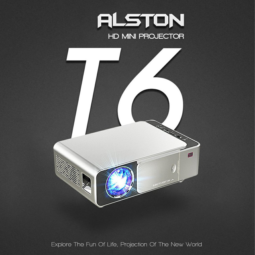 جهاز عرض Led T6 FHD 4k 3500 Lumens ، جهاز عرض سينمائي محمول ، متوافق مع HDMI ، USB 1080p ، إصدار عادي