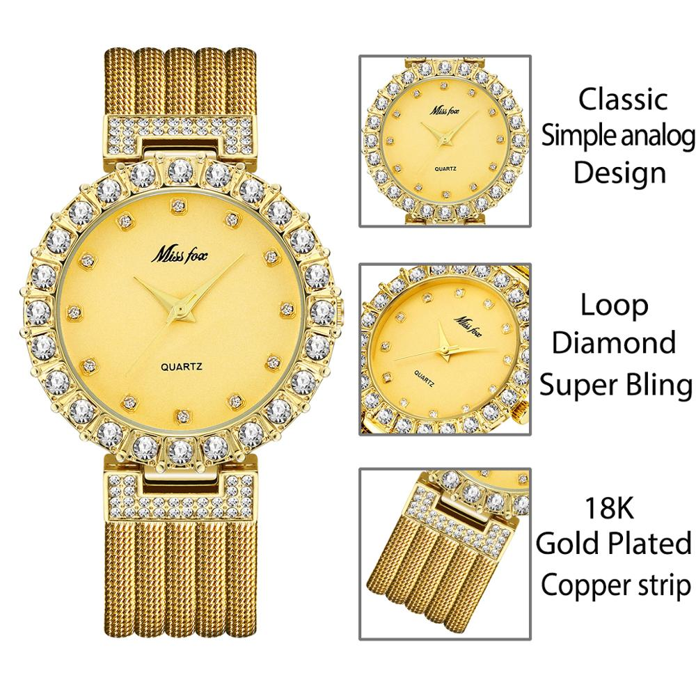 MISSFOX Women Fashion Minimalist Waterproof Wrist Watch Diamond Crystal Analog with Copper Mesh Band Rose Gold Wristwatches enlarge