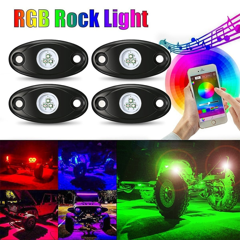Car RGB LED Rock Underglow Lights Kit Underbody Waterproof Trail Rig Neon Lights Kit with Cell Phone APP Mini Blue tooth