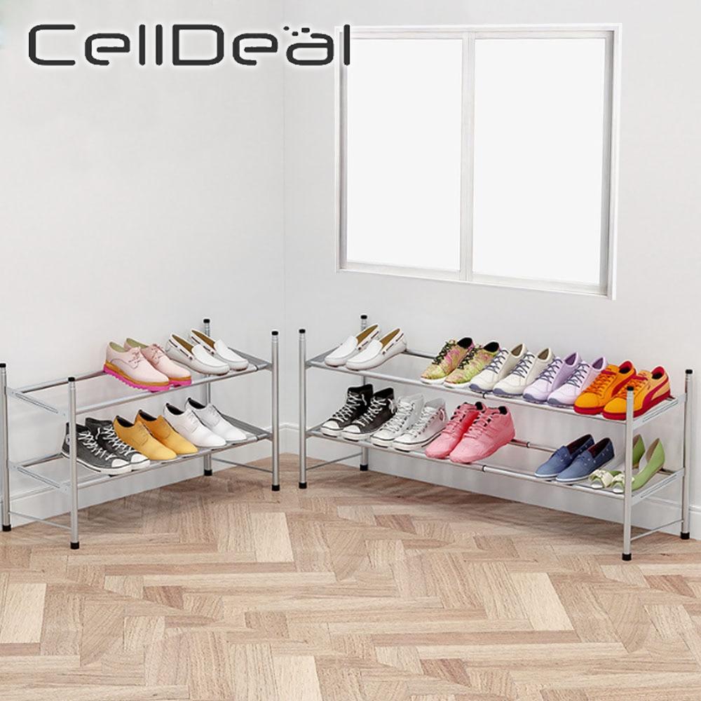CellDeal 2 طبقات تكويم قابل للتعديل 60-110 سنتيمتر الفولاذ المقاوم للصدأ رف الأحذية حذاء التخزين المنظم حذاء حامل حامل أحذية الجرف