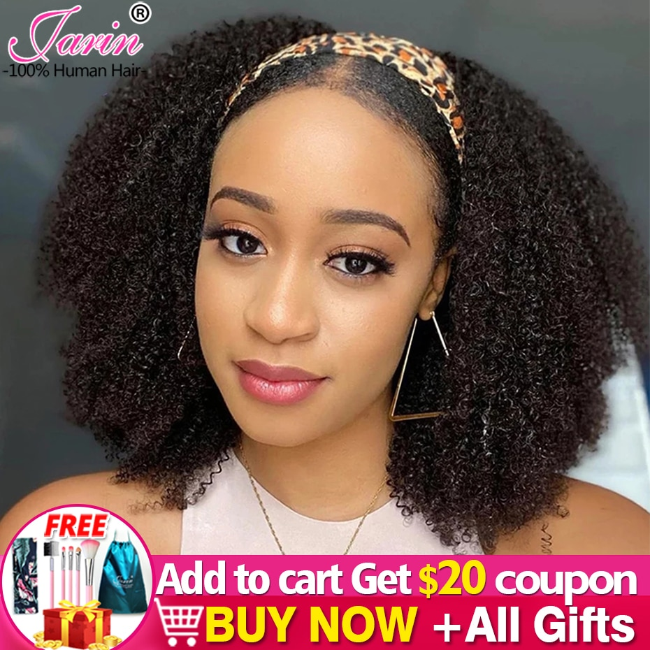 Afro Kinky Curly Headband Wigs 180% 200% 250% Density Human Hair Wig Free Headband For Black Women A