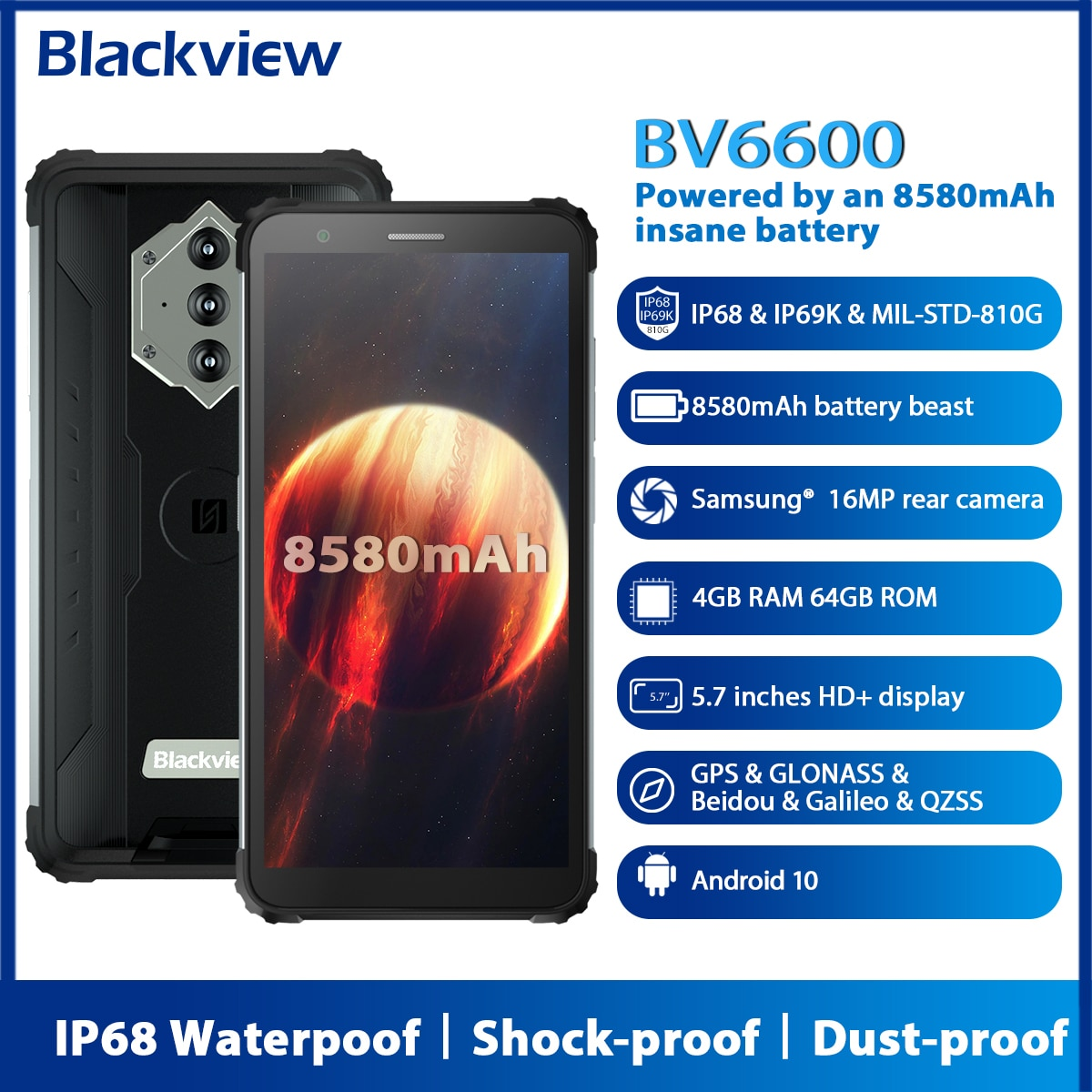 Blackview BV6600 Android 10 прочный смартфон IP68 Водонепроницаемый 8580 мАч Octa Core 4 Гб + 64 Гб 5,7 дюйм FHD мобильный телефон 16MP Камера NFC