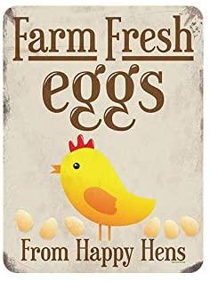 Retro Sign Farm Fresh Eggs Vintage Metal Tin Sign - Home Decor Bar Man Cave Garage Decor Restaurant Decor Room