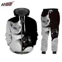 ujwi 3d black white cat 2 piece set zip hoodies suits menwomen sweatshirt joggers harajuku set winter unisex tracksuit jacket