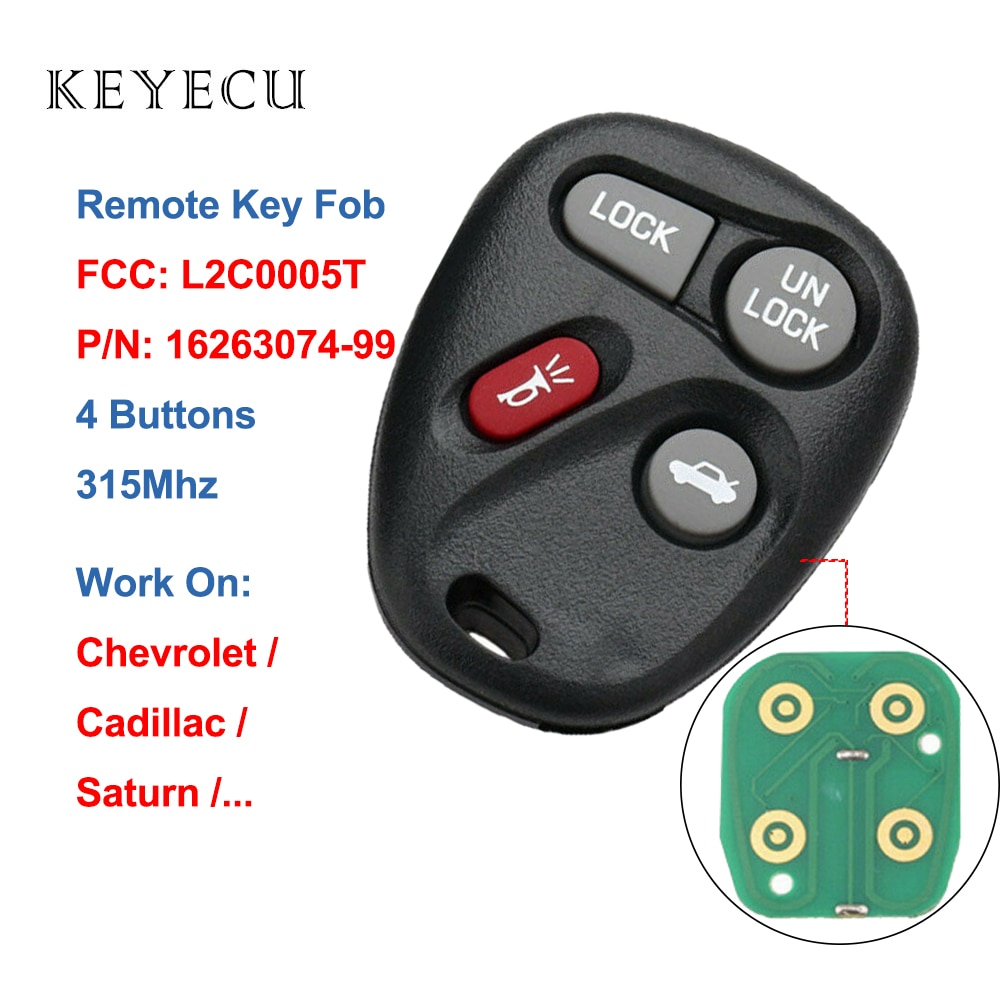 Keyecu L2C0005T Keyless Entry Remote Car key 4 Buttons 315Mhz for Chevrolet for Pontiac for Saturn for Cadillac GM#: 16263074-99