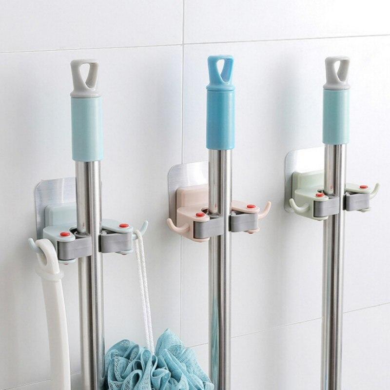 1 pieza soporte para escoba mopa montado en la Pared Soporte para mopa hogar almacenamiento adhesivo gancho para escoba mopa ganchos organizador de cocina Baño