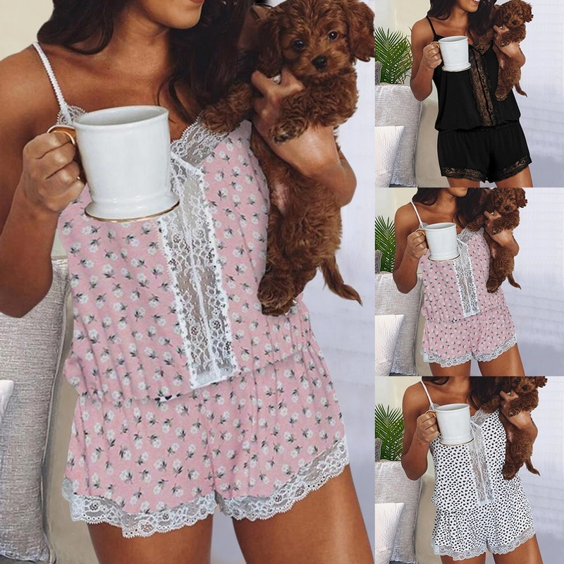 2021 New Fashion Ladies Fashion Summer Print Round Neck Sleeveless Top Shorts Home Furnishing Comfortable High Quality Suit blue crossed back design round neck sleeveless top