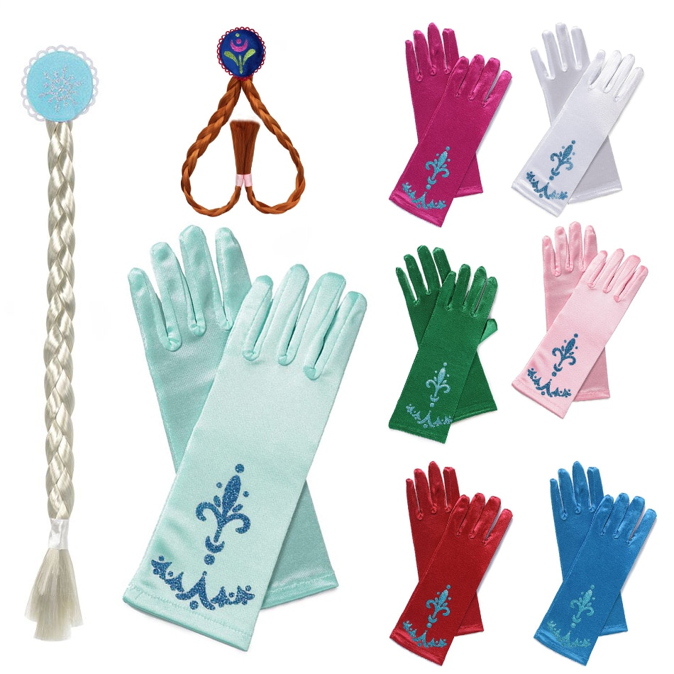 Frozen Elsa Anna Princess Gloves Braid Wig Snowflake Printed Satin Kids Gloves for Cospaly Dresses Aurora Cinderella