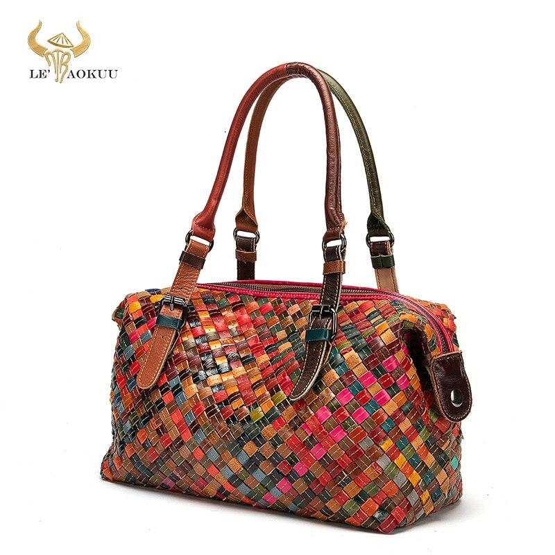 Hot Colorful Original Leather Famous Luxury Patchwork Large Shopper Purse Handbag Shoulder Bag Women