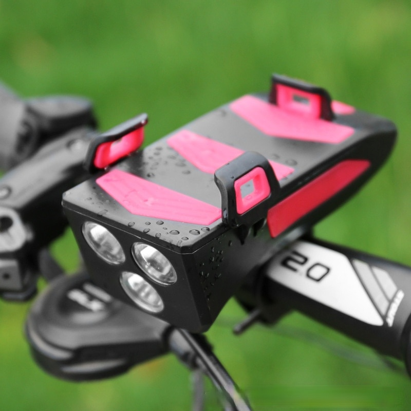 Bicycle Mobile Phone Holder with Horn with Car Lights USB Charging Can Be Used As A Power Bank 4 In 1 Waterproof