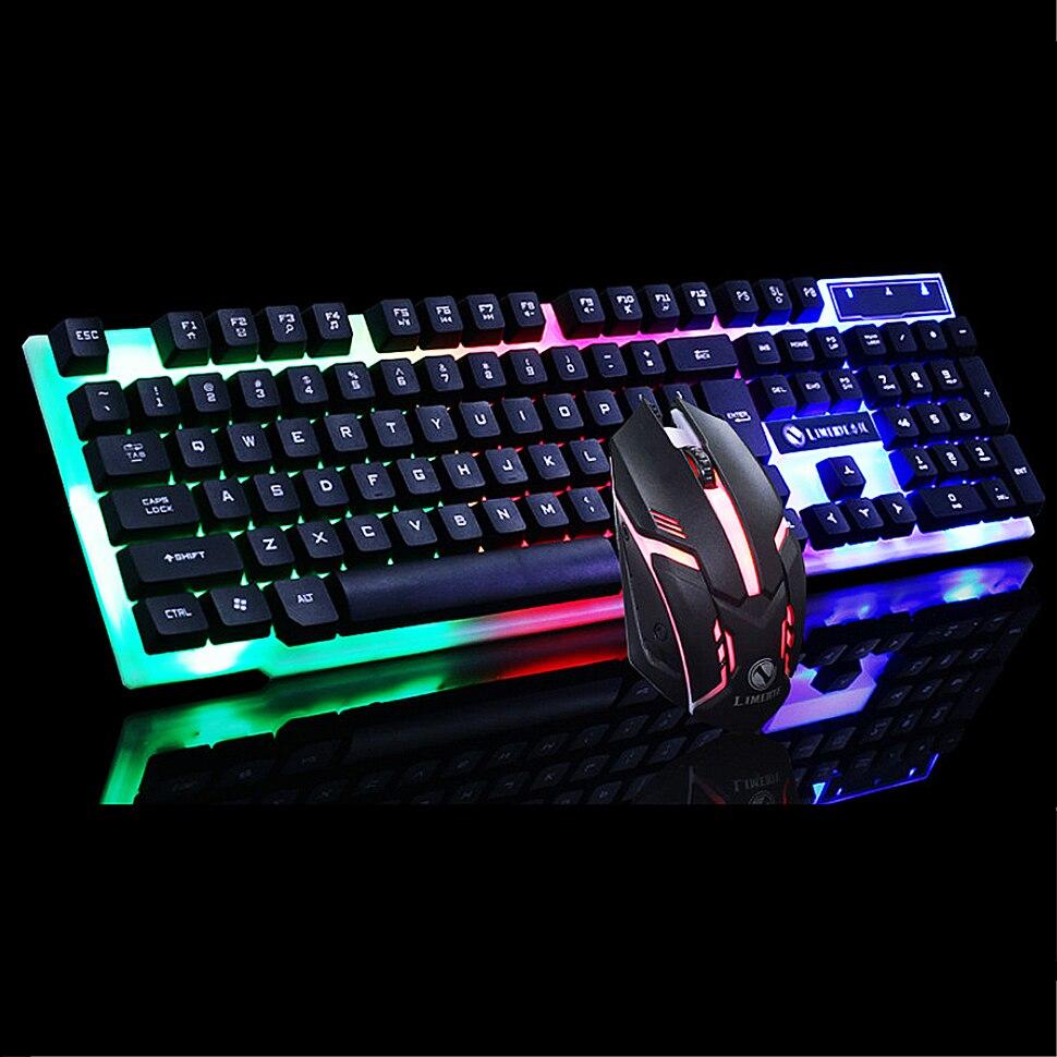 Проводная Механическая игровая клавиатура с клавиатурой, светодиодный USB игровая мышь с подсветкой, геймерская клавиатура для ПК, геймерского ноутбука