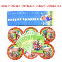 80pcs/50Pcs Game Theme Super Mario Bros Kids Boys Birthday Paper Cups+Plates+Napkin+Gift bags Birthday Family Party Supplies