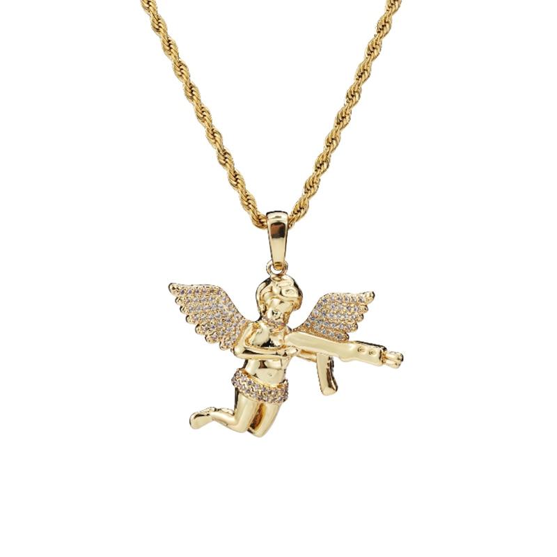 худи rock angel rock angel ro050ewgfzx4 Hip Hop Zircon Alloy Gold Color Angel Pendant Necklace Chain Rock Jewelry