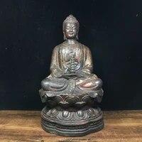 10chinese temple collection old bronze lacquer cinnabar shakyamuni buddha sitting buddha amitabha enshrine the buddha