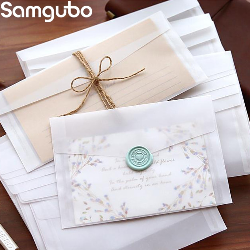 10pcs/lot Custom Transparent Envelope Translucent Paper Envelopes Set Letter Vintage Wedding Invitation Envelopes for Cards