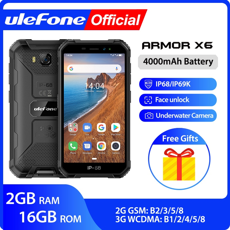 Ulefone armx6 IP68 MT6580 وعرة مقاوم للماء الهاتف الذكي أندرويد 9.0 هاتف محمول الهاتف المحمول/رباعية النواة/4000mAh /2GB 16GB /3G