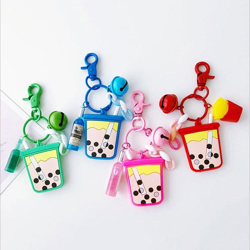 NewKey colgante de cadenas de silicona con forma de té de la leche llavero campana pastel pequeño colgante bolso colgantes de bolso con campana