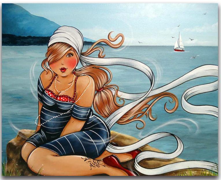 Pintura de diamante redondo completo punto de cruz mar mujer diamante bordado señora grasa diamante dotz piedra pegatina diamante mosaico imagen
