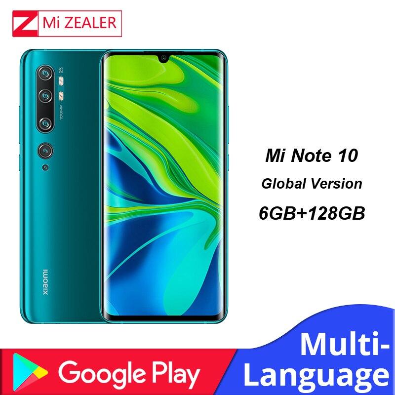 Глобальная версия Xiaomi Mi Note 10 смартфон 6 ГБ ОЗУ + 128 Гб ПЗУ 5260 МП пента камера мАч аккумулятор Snapdragon730G мобильный телефон