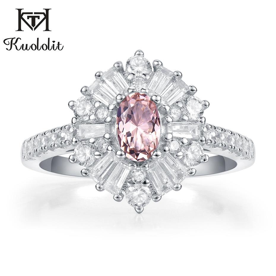 Anillos de piedra de morganita Kuololit para mujer, sólida plata 925 Esmeralda rubí, tanzanita, regalos de compromiso, joyería fina