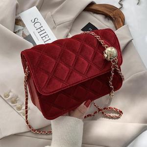Vintage Lattice Square Crossbody bag 2020 Fashion New High quality Velvet Women's Designer Handbag Chain Shoulder Messenger Bag