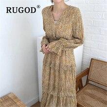 Rudieu-robe longue de printemps rétro   Imprimé léopard, mode taille haute, manches longues, longueur gâteau, élégante, femme, nouveauté
