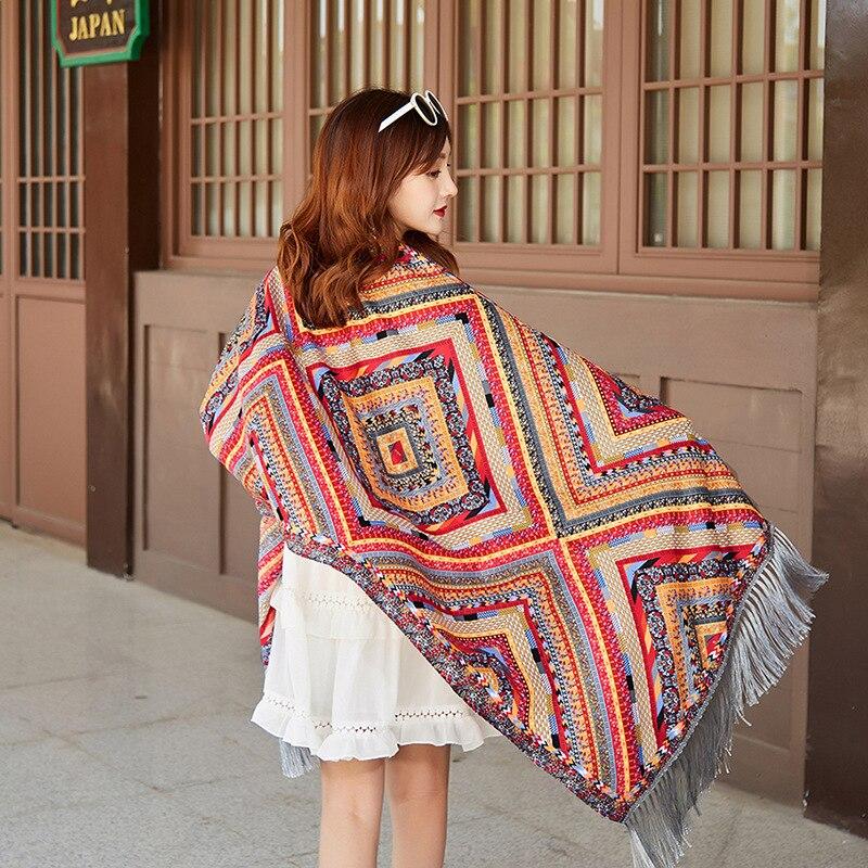 2020 Women's Ethnic Style Print Scarf Shawl Ladies Long Tassel National Wind Scarves Vintage Bohemian Wraps Bufandas Mujer art ethnic geometry pattern tassel scarf