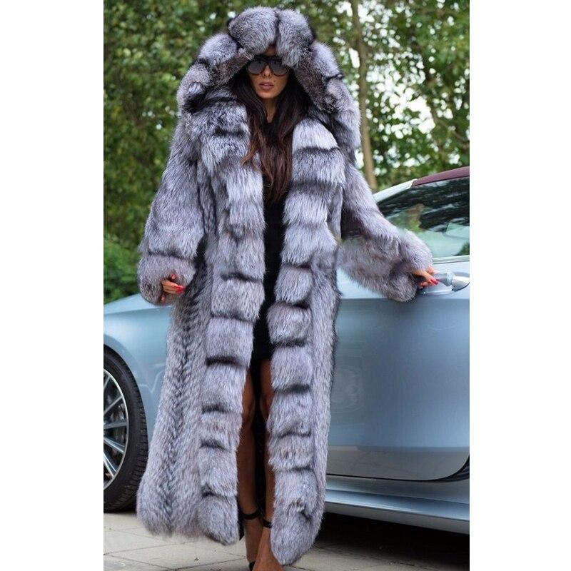2021 جديد ريال فوكس الفراء معطف الشتاء النساء الموضة عالية الجودة 130 سنتيمتر X-طويل كامل الجلد حقيقية الفضة الثعلب الفراء معاطف أبلى الفاخرة
